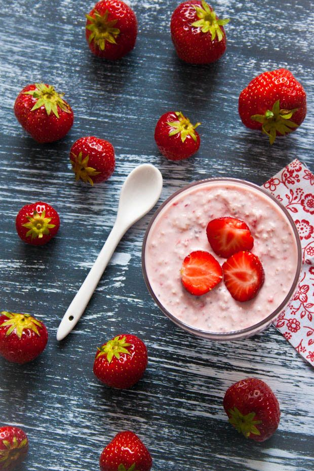 Havermout met aardbeien ontbijt recept