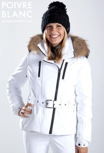 Veste de ski poivre blanc femme
