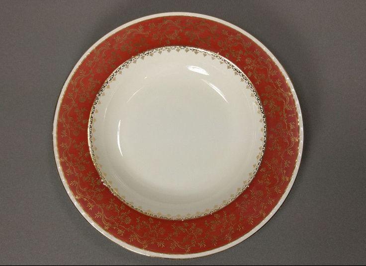 """Vintage Porcelain Craftsman Bowl Red Rust 18k Gold Floral 8-5/8"""""""