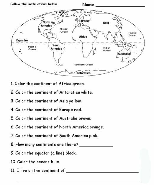 continents and oceans worksheet