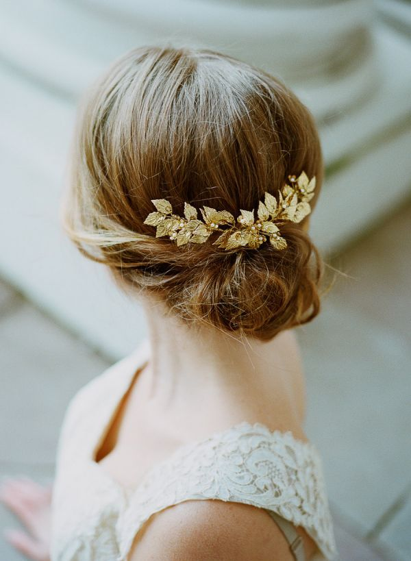 Designed by The Wild Rose, this delicately beautiful headpiece is handmade out of gilded brass leaves studded with Swarovski pearls.