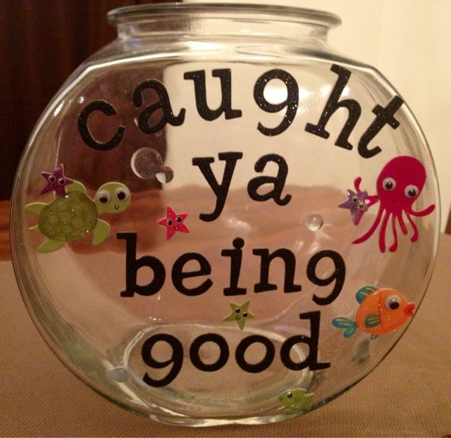 Need to do this!!  Positive reinforcement - Put a cotton ball, marble, pom-pom, etc. in every time you catch your child being good. Do something special when it's full. Nice little reminder for mom to notice the good and acknowledge it!
