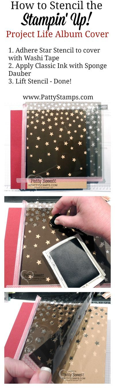 How to stencil the cover of your Stampin' UP! Product Life album with the star mask and sponge daubers. Tutorial by Patty Bennett #PLxSU #stampinup #pattystamps