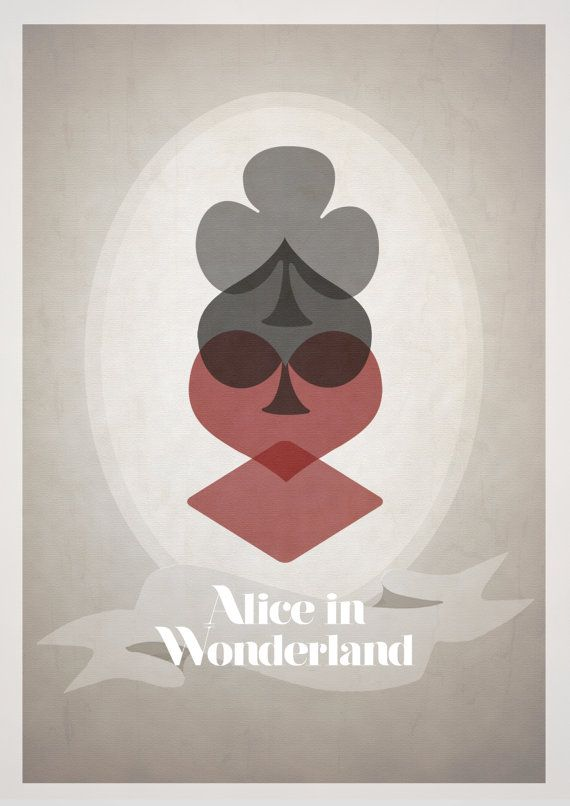 Rowan Stocks-Moore - Alice in Wonderland. Such an amazing poster! His use of the card suites is GENIUS! Rownasm - etsy.com