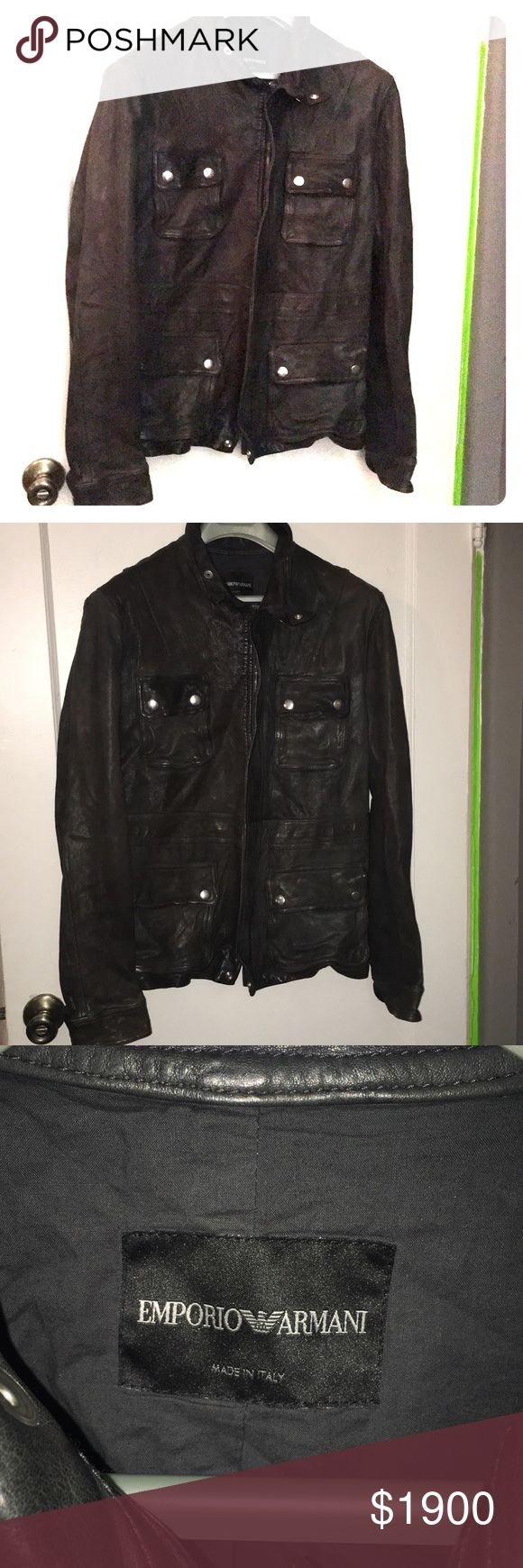 Brand New with Tag Emporio Armani Leather Jacket. This jacket is too legit to quit- as MC Hammer would say- the pictures speak for themselves, still that new leather smell- never worn. I think unisex- buy for you or your man or woman! Xoxo DEEP Chocolate Brown. Emporio Armani Jackets & Coats
