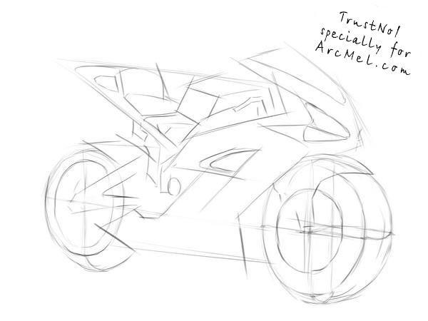 How to draw a motorbike step 3