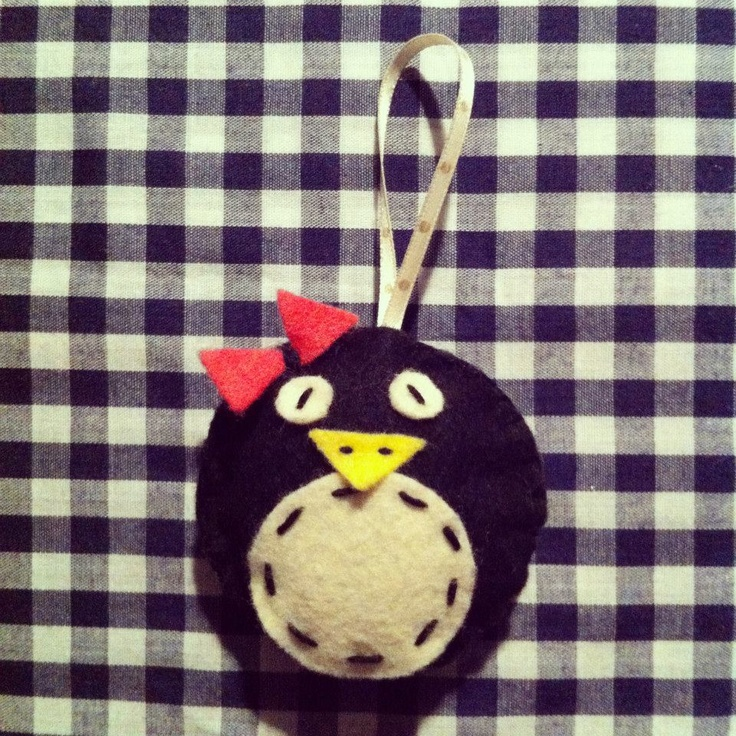 Home made Cute Penguin decoration for your Christmas Tree. Visit http://www.facebook.com/KittyAndTiz to find out how to buy