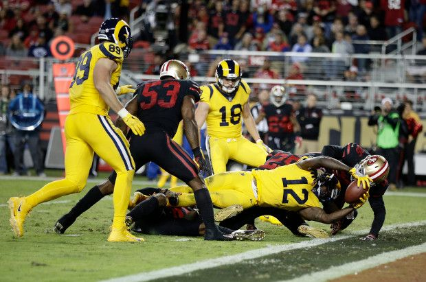 Los Angeles Rams Sammy Watkins (12) scores touchdown against San Francisco 49ers...Rams win (41-39) @ SF 9.21.17 (Thu) Nite Football. Bad uniforms colors on both teams! (google.image) 9.17 #3/3
