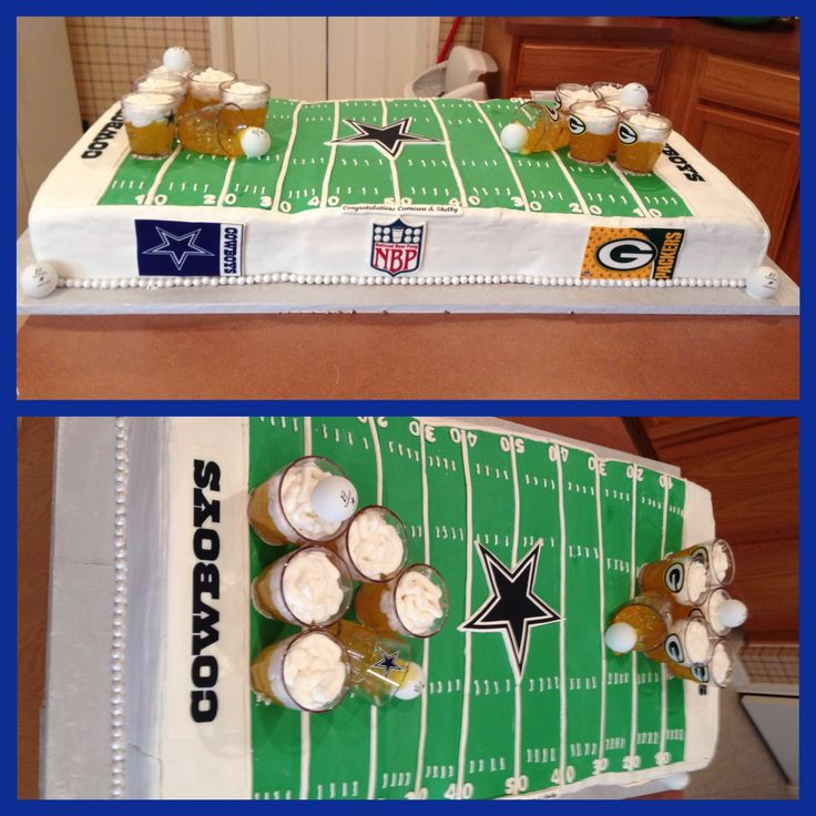 Dallas cowboy vs Green bay Packer beer pong cake! https://m.facebook.com/pages/Bees-Sweet-Creations/460651343978126?id=460651343978126&_rdr