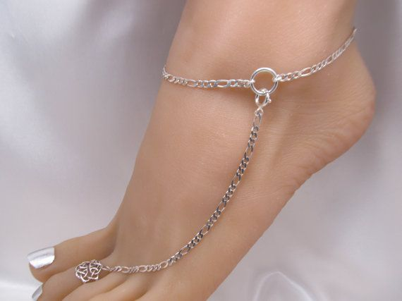 Heavy Sterling Silver Adjustable Anklet with Toe Ring Barefoot Sandal by FayWestDesigns