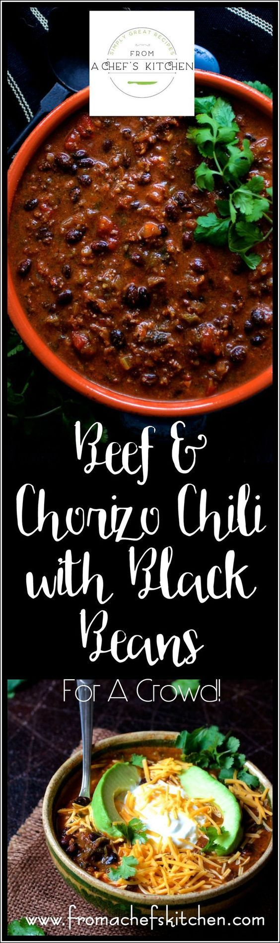 Beef and Chorizo Chili with Black Beans is scaled for a crowd and perfect for a party! Beef, chorizo, red wine and Poblano peppers star in this hearty chili