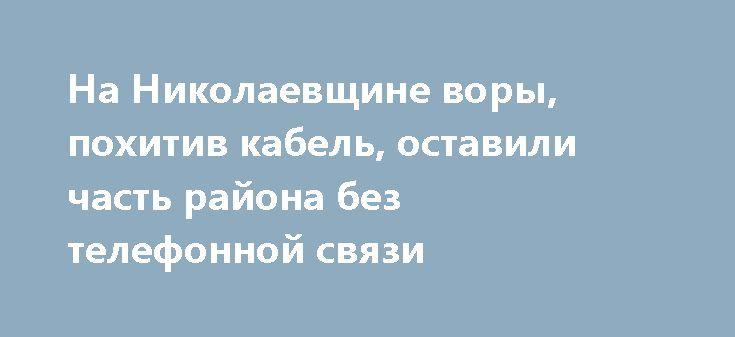 На Николаевщине воры, похитив кабель, оставили часть района без телефонной связи  http://novosti-mk.org/events/5000-na-nikolaevschine-vory-pohitiv-kabel-ostavili-chast-rayona-bez-telefonnoy-svyazi.html  Представители двух акционерных обществ Первомайского района обратились в полицию с заявлениями о совершении краж имущества, принадлежащего их учреждениям. В результате такого хищения часть города и четырёх сёл остались без телефонной связи.  #Николаев #Nikolaev {{AutoHashTags}}