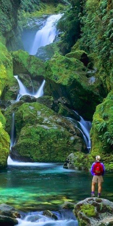 Mackay Falls in Fiordland National Park on the South Island of New Zealand •: