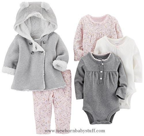 Baby Girl Clothes Carter's Baby Girls' 5-Piece Playwear Set, Pink/Grey, 12 Months #babygirlsweaters