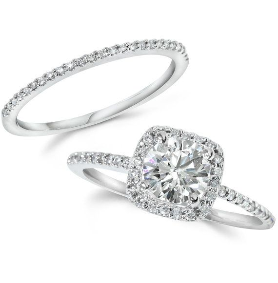 1.25CT GIA Certified Diamond Engagement Ring Set Cushion Halo Matching Wedding Band 14 KT White Gold on Etsy, $3,202.04 CAD