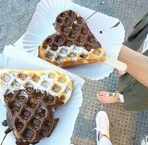 grafika chocolate, food, and waffles
