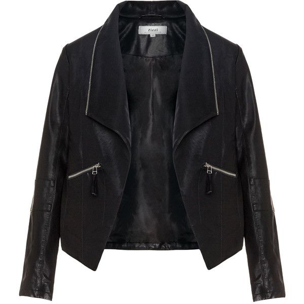 Zizzi Black Plus Size Zip collar leather biker jacket ($105) ❤ liked on Polyvore featuring outerwear, jackets, coats, leather, black, plus size, motorcycle jacket, moto jacket, plus size leather jacket and biker jacket