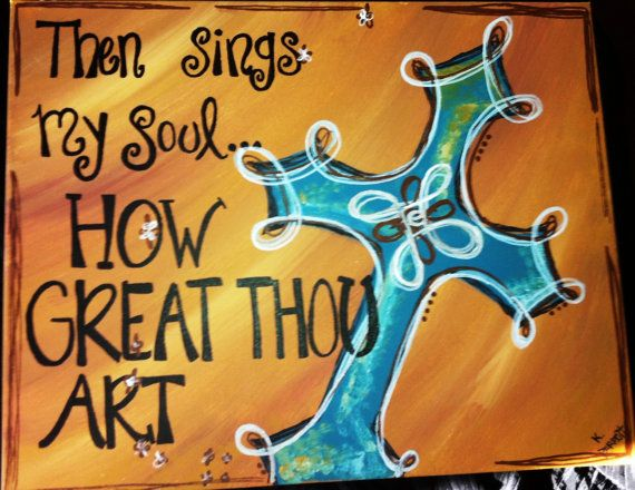 Painted Cross Canvas by ParrottPlace on Etsy, $52.00
