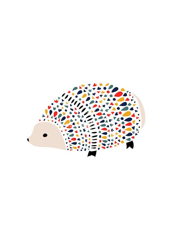Hedgehog Art Print ( printed vertically by default), Animal Illustration,Drawing, Illustration, Children Room Kids room art,Nursery room Ar,
