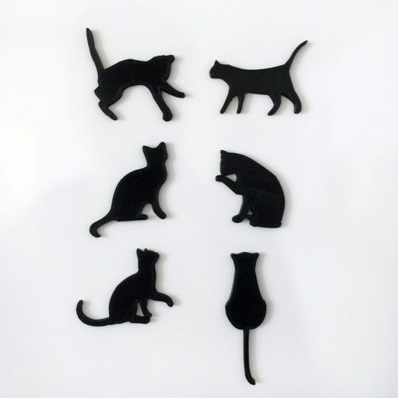 3d printing Cool, original set of cat magnets. The set contains 6 cute cats. Magnetic Cats The magnet itself is embedded into the plastic, so it would not scratch or damage your photos or fridge!