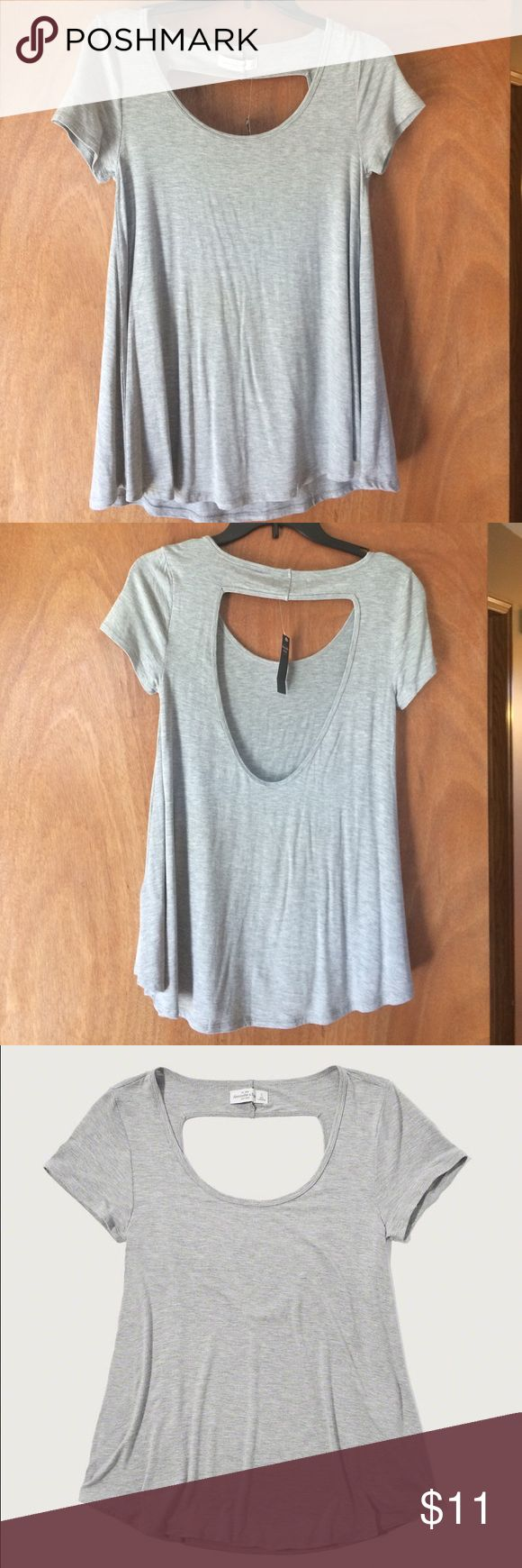 Brand new Abercrombie cute open back swing tee New from Abercrombie & Fitch - this cute grey swing tee is perfect for working out or going out! I have it for sale in size Small and X-Small Abercrombie & Fitch Tops