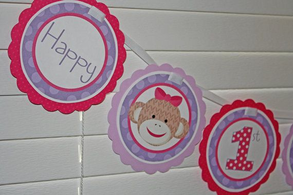 Sock Monkey Girl Birthday Banner  Purple Pink  by PinkInkCreation, $18.00