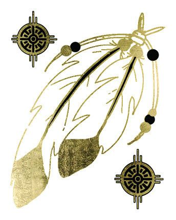 """Keep the wind at your back, sun on your face, and feathers in your hair! Get back to your native roots with our metallic Native Feathers tattoo. Black and gold. Sheet Size: 2.5"""" x 2"""" - Lasts 5-7 days"""