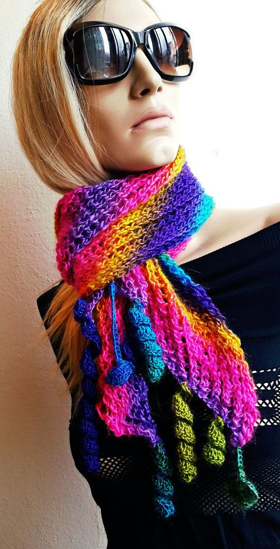 Hand knitted Rainbow Shawl Handmade Stole Hand knit by SimArtShop