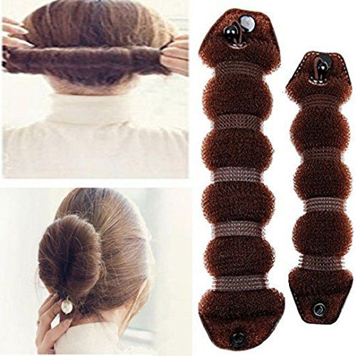 YABINA 2 Pcs Foam Sponge Magic Clip French Twist Hairstyle Donut Bun Ponytail Former Maker Hairstyle Musthaves Tool Accessories Coffee Small  Large >>> For more information, visit image link.(This is an Amazon affiliate link and I receive a commission for the sales)