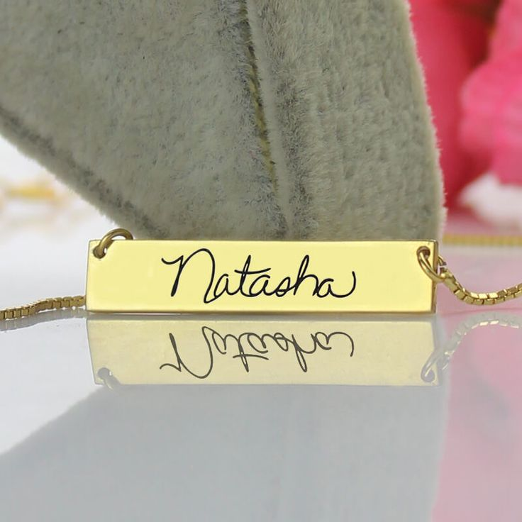 Custom Signature Bar Necklace Gold Color Engraved Name Bar Necklace Unique Symbol Your Identity Signature Valentine's Day Gift