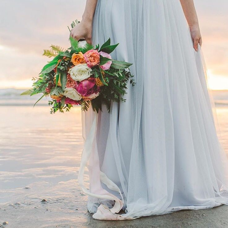Dreamy beach wedding inspo.. Maxi tulle skirt by Bliss Tulle [Lauren Anderson Photography]