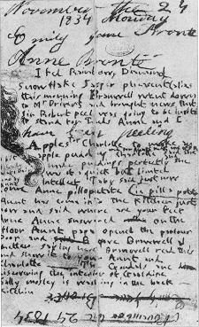 A page from Anne and Emily Bronte's diary (Juliet Barker The Brontës via Michael Armitage). Anne was 14, Emily was 16 at the time of the diary's writing.