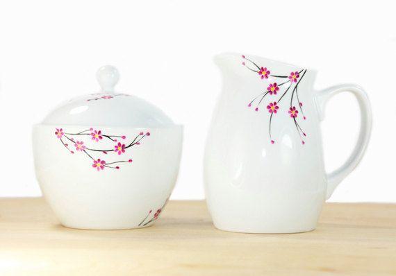 Hand Painted Ceramic Sugar Bowl and Creamer Cherry Tree Blossom design Modern Minimalist Kitchen Decor on Etsy, Sold