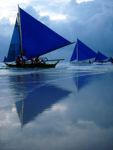 blue sail,   blue sunset  Boracay, Philippines