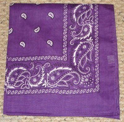 100% Cotton Paisley Purple Bandana Double Sided Head Wrap Scarf Wristband-New