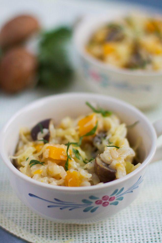 Risotto butternut et champignons – cuisson au four avec Albal