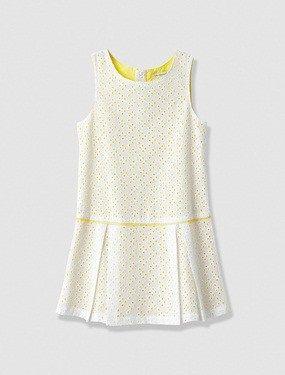 Vestido con bordado inglés niña blanco claro estampado #circulogpr #fashion #modainfantil #vertbaudet