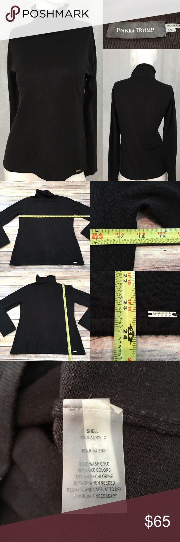 Size Medium Ivank Trump Black Turtleneck Sweater • Measurements are in photos  • Material tag is in photos • Normal wash wear, has some mild piling, no other flaws • Soft • Long Sleeve  A2/60  Thank you for shopping my closet! Ivanka Trump Sweaters Cowl & Turtlenecks