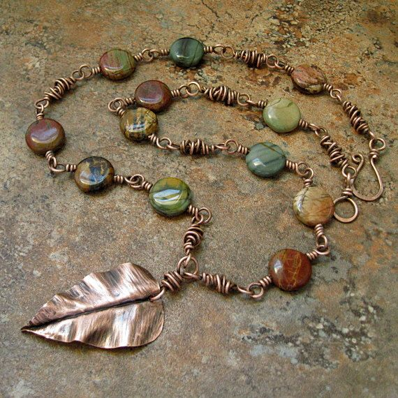 Red Creek Jasper Copper Leaf by marynewton on Etsy, $68.00 interesting how much this is like the one I designed last winter----fine minds, I guess