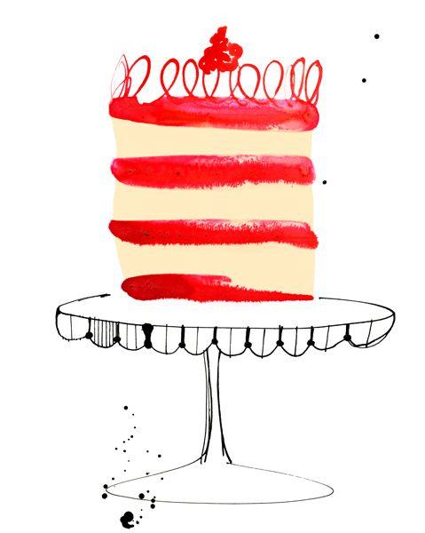 Margaret Berg, cake stand, food, drawing, texture, design, cake, birthday, cooking, illustration