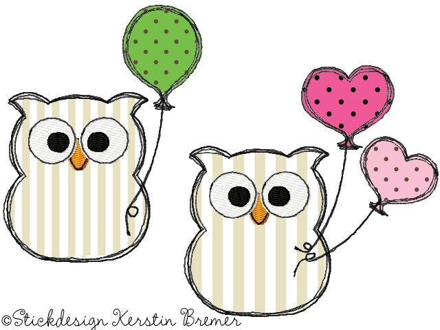 Eulen Ursula mit Luftballons ♥ Doodle Stickdateien für die Stickmaschine. Balloon owls. Doodle owl appliqué embroidery for embroidery machines.  #sticken #eulenliebe #diy