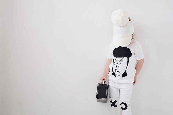 Rousso & Blossom monochrome kids Bowie Tshirt
