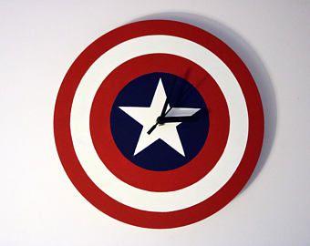 Captain America Wooden Wall Clock, Marvel Avengers, Superhero, Kids Clock, Kids Bedroom, Kids Decor, Childrens Clocks, Gifts for Kids
