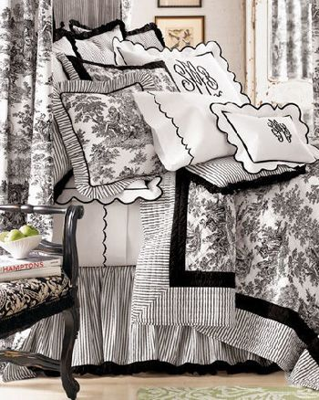 Black and white toile bedding.