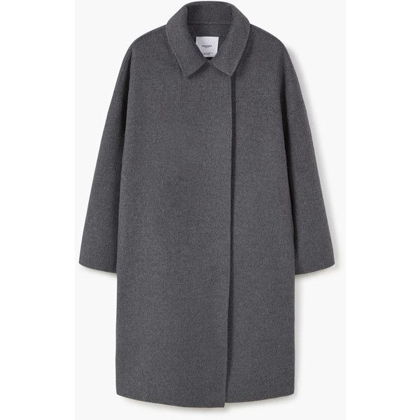 MANGO Handmade Wool Coat (€150) via Polyvore featuring outerwear, coats, mango coat, reversible wool coat, reversible coats, wool coat and woolen coat