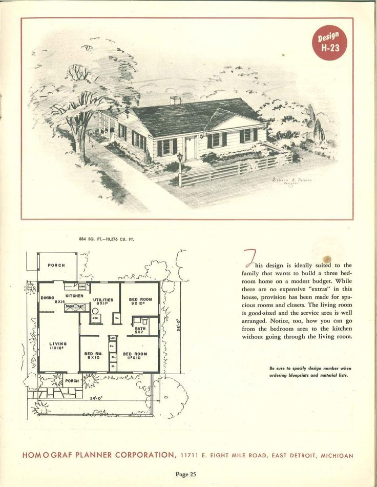 443 best VinTagE HOUSE PlanS~1950s images on Pinterest | 1950s ...