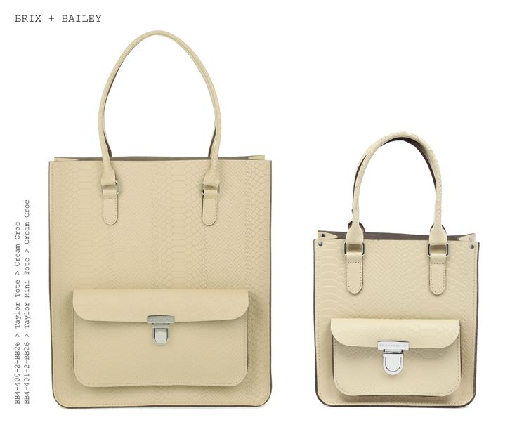 Brix + Bailey  Large + Mini Taylor Leather Totes - Cream Croc - Designed in England. Made in England www.brixbailey.com