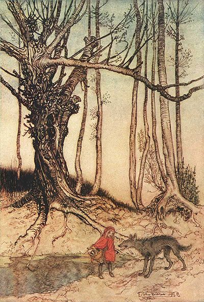 """Arthur Rackham illustration for Grimm's Fairy Tales  Ros Asquith writes:  """" ... Here, Red Riding Hood innocently reveals her destination to the wolf, so enabling him to devour her grandmother. Dwarfed by her surroundings, she makes the reader long to cry out a warning. Rackham's varied, fluent lines – a staccato wolf, vigorous tree, limpid girl – are overlaid with menace ..."""""""