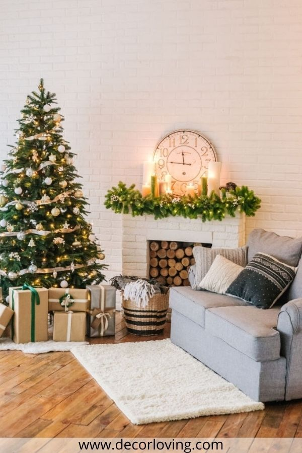 Christmas Living Room Decor Small Spaces With Sofa And Christmas Tree Christmas Decorations Living Room Christmas Living Rooms Small Living Room Decor