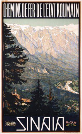 Original 1930s Travel Poster ROMANIA Sinaia. Murnu, Ary 1881 - Sinaia Lithograph ca. 1930